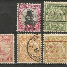 Sellos: UK - COLONIAS EN SUDAFRICA - 7 VALORES - SOBRECARGAS - NUEVO Y USADOS. Lote 277101098