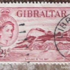 Sellos: GIBRALTAR 1953. YVERT 134. USADO. VELERO EN LA BAHÍA Y PENÓN. REINA ISABEL II.. Lote 277524578
