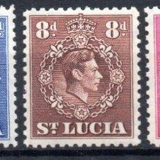 Sellos: ST. LUCIA/1938-48/MH/SC#118, 120, 123/ REY JORGE V / KGV / REALEZA / SET INCOMPLETO. Lote 283265388