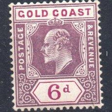 Sellos: GOLD COAST/1902/MNH/SC#43/ REY EDUARDO VII / REALEZA / 6P VIOLETA & PURPURA. Lote 283268598
