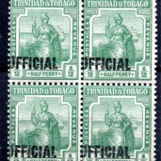 Sellos: TRINIDAD & TOBAGO/1917/MNH/SC#O5/BRITANNIA / SELLO OFICIAL SOBRE IMPRESO/ BLOQUE DE 4. Lote 283276443
