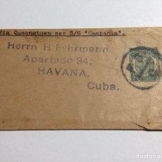 Sellos: ENVUELTA LONDRES - LA HABANA VÍA QUEENSTOWN 1913 A. TESDORPF & CO. Lote 287641848