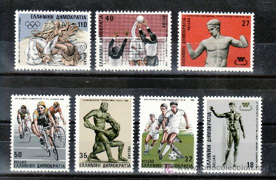 GRECIA 1601/7 SIN CHARNELA, DEPORTE, ATLETISMO, FUTBOL, LUCHADOR(ESCULTURA), LUCHA, VOLEIBOL, CICLIS (Sellos - Extranjero - Europa - Grecia)