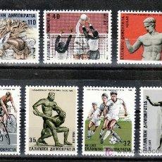 Sellos: GRECIA 1601/7 SIN CHARNELA, DEPORTE, ATLETISMO, FUTBOL, LUCHADOR(ESCULTURA), LUCHA, VOLEIBOL, CICLIS. Lote 20840823