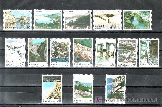 GRECIA 1365/79 SIN CHARNELA, TURISMO, PAISAJES Y SITIOS, (Sellos - Extranjero - Europa - Grecia)