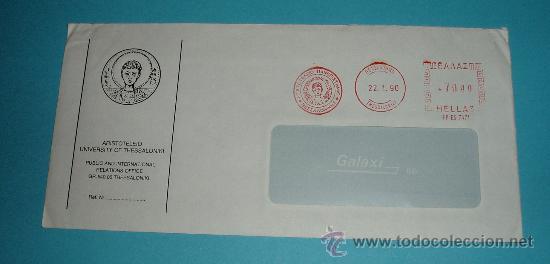 SOBRE CON FRANQUEO MECÁNICO UNIVERSIDAD DE TESALONICA. 1990 (Sellos - Extranjero - Europa - Grecia)