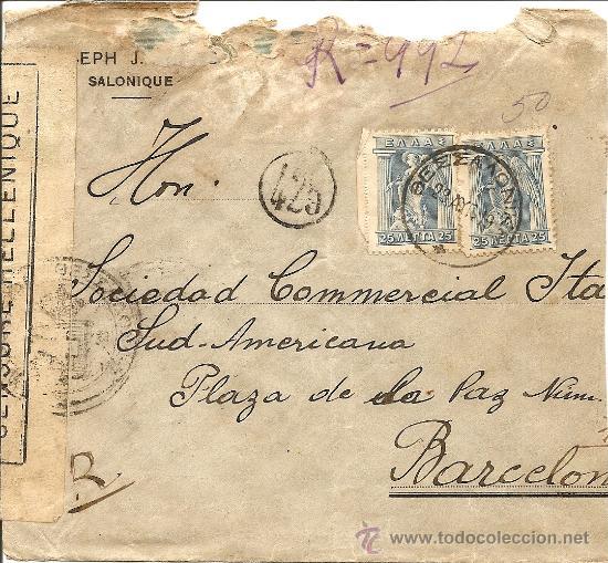 SOBRE CENSURA HELÉNICA DE SALÓNICA A BARCELONA - AÑO 1919 - DIVERSAS MARCAS (Sellos - Extranjero - Europa - Grecia)