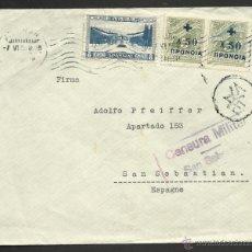 Sellos - 1938 CARTA GRECIA A ESPAÑA - BENEFICIENCIA SOCIAL - CENSURA - 39494261