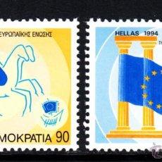 Sellos: GRECIA 1844/45** - AÑO 1994 - PRESIDENCIA GRIEGA DE LA UNION EUROPEA. Lote 46211527