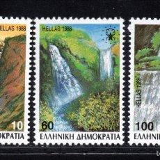 Sellos: GRECIA 1675/77** A - AÑO 1988 - PAISAJES - CATARATAS. Lote 57759554