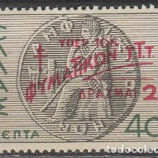 Sellos: GRECIA IVERT BENEFICENCIA 16, CAMPAÑA ANTITUBERCULOSOS, NUEVO * (AÑO 1944). Lote 64979203