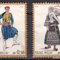 Sellos: GRECIA - 2 SELLOS IVERT #1073 Y 1076 (2 VALORES) - TRAJES NACIONALES 1972 - NUEVO GOMA ORIGINAL. Lote 151472578