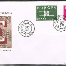 Sellos: [CF1153B] GRECIA 1963, FDC SERIE EUROPA (NS). Lote 170422712