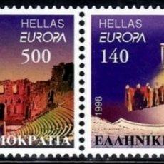 Sellos: GRECIA,MNH, MÚSICA, EUROPA CEPT 1998 (FOTOGRAFÍA REAL). Lote 202587100