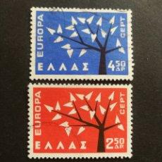Sellos: GRECIA, EUROPA CEPT 1962 COMPLETA Y USADA (FOTOGRAFÍA REAL). Lote 205563915