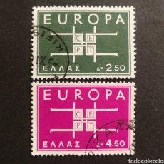 Sellos: GRECIA, EUROPA CEPT 1963 COMPLETA Y USADA (FOTOGRAFÍA REAL). Lote 205569018