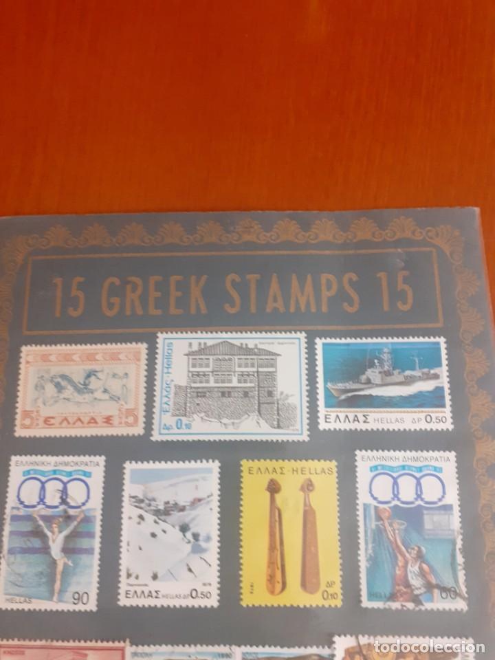 Sellos: cartera con 15 sellos griegos de los años 90 - Foto 2 - 214521921