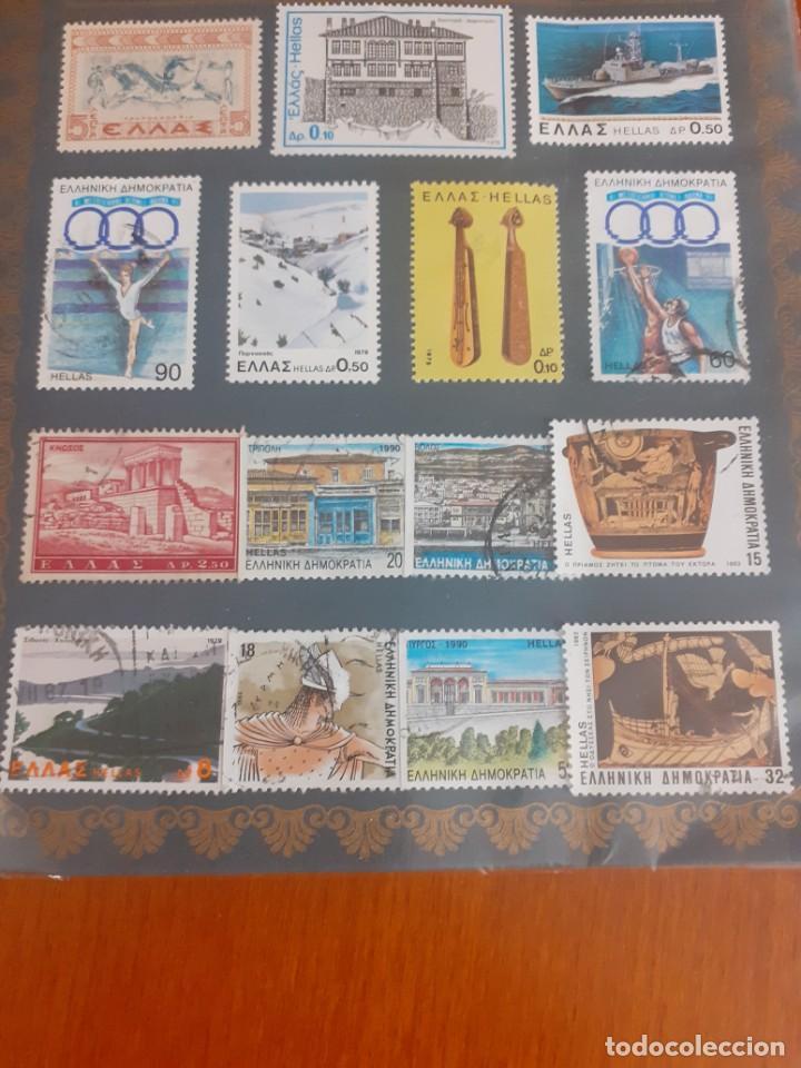 Sellos: cartera con 15 sellos griegos de los años 90 - Foto 3 - 214521921