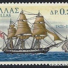 "Timbres: GRECIA 1971 - 150º ANIV. DE LA GUERRA DE INDEPENDENCIA, NAVÍO ""LEÓNIDAS"". ISLA DE PSARA - MNH**. Lote 223730820"