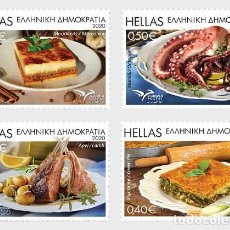 Sellos: GREECE 2020 - EUROMED 2020 - TRADITIONAL GASTRONOMY IN THE MEDITERRANEAN STAMP SET MNH. Lote 233235285