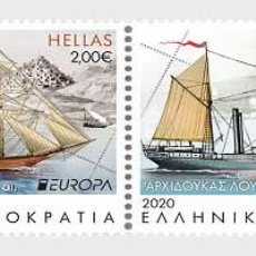 Sellos: GREECE 2020 - EUROPA 2020 - ANCIENT POSTAL ROUTES STAMP SET MNH. Lote 233236680