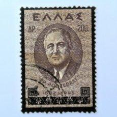 Sellos: SELLO POSTAL GRECIA 1945, 200 ₯ ,FRANKLIN D. ROOSEVELT PRESIDENTE DE U.S.A., USADO. Lote 236929545
