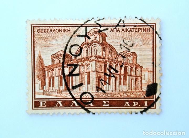 SELLO POSTAL GRECIA 1961, 1 ₯ , IGLESIA DE SANTA CATHERINE, TESSALONIKI, USADO (Sellos - Extranjero - Europa - Grecia)