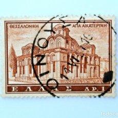 Sellos: SELLO POSTAL GRECIA 1961, 1 ₯ , IGLESIA DE SANTA CATHERINE, TESSALONIKI, USADO. Lote 236931020