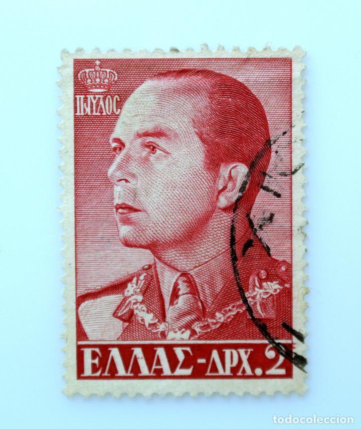 SELLO POSTAL GRECIA 1957, 2 ₯ , REY PAUL, USADO (Sellos - Extranjero - Europa - Grecia)