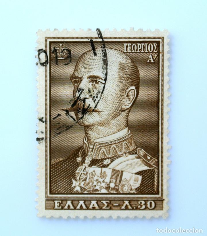 SELLO POSTAL GRECIA 1956, 30 ₯ , REY GEORGE I, USADO (Sellos - Extranjero - Europa - Grecia)