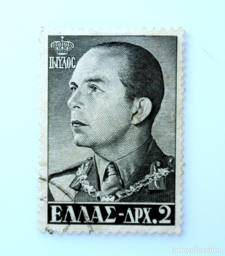 SELLO POSTAL GRECIA 1956, 2 ₯ , REY PAUL, USADO (Sellos - Extranjero - Europa - Grecia)