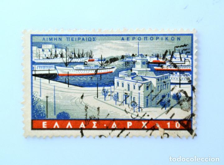 SELLO POSTAL GRECIA 1958, 10 ₯ , PUERTO PIREO, USADO (Sellos - Extranjero - Europa - Grecia)