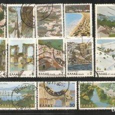 Sellos: GRECIA 1979, YVERT Nº 1365/1379, PAISAJES Y CIUDADES. MATASELLADOS. Lote 243237460