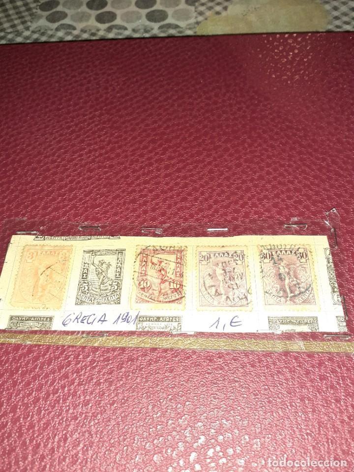 LOTE DE 5 SELLOS GRECIA DE 1901. CIRCULADOS. NINGÚN REPETIDO. CON CHARNELA (Sellos - Extranjero - Europa - Grecia)