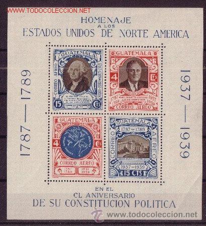GUATEMALA HB 1** - AÑO 1938 - 150º ANIVERSARIO DE LA CONSTITUCIÓN DE ESTADOS UNIDOS (Sellos - Extranjero - América - Guatemala)
