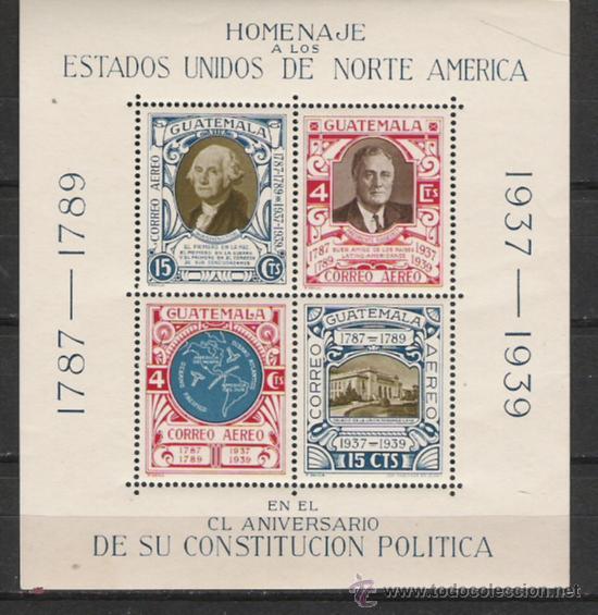 GUATEMALA HOJA BLOQUE Nº 1 HOMENAJE A LOS EE UU DE AMERICA (Sellos - Extranjero - América - Guatemala)