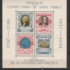 Sellos: GUATEMALA HOJA BLOQUE Nº 1 HOMENAJE A LOS EE UU DE AMERICA . Lote 26536818