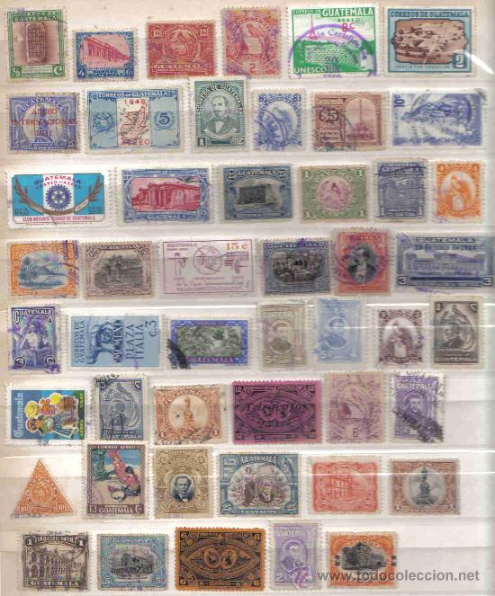Sellos: Lote de 100 Sellos de Guatemala Usados (Todos Diferentes) - Foto 2 - 23029625