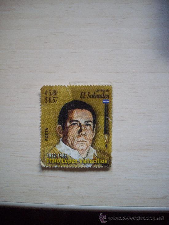VIÑETA DE EL SALVADOR, DEDICADO A ITALO LOPEZ VALLECIDOS POETA 1932-1986 (Sellos - Extranjero - América - Guatemala)