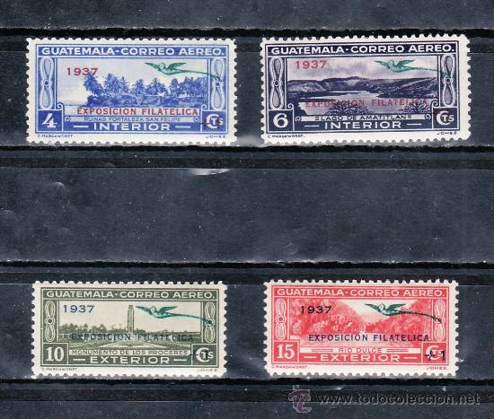 GUATEMALA 295/8 CON CHARNELA, FAUNA, QUETZAL, SOBRECARGADO 1937 EXPOSICION FILATELICA + 1 (Sellos - Extranjero - América - Guatemala)