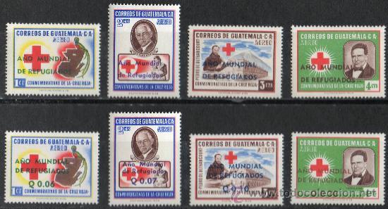GUATEMALA AÑO 1960 YV AEREO 253/60*** AÑO MUNDIAL DEL REFUGIADO - PERSONAJES - CRUZ ROJA - MEDICINA (Sellos - Extranjero - América - Guatemala)