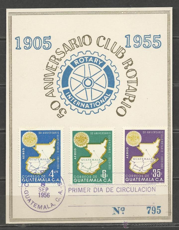 TARJETA NUMERADA DE GUATEMALA DEL 50 ANIVERSARIO DEL CLUB ROTARIO CON SERIE AEREA 211/13 (Sellos - Extranjero - América - Guatemala)