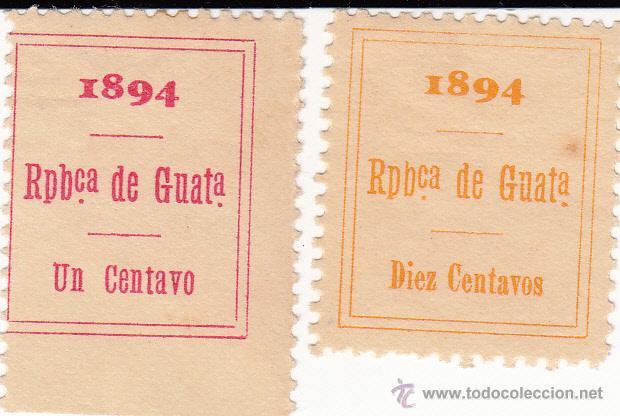 2 FISCALES GUATEMALA AÑO N1894 1 CENTAVO Y 10 CENTAVOS ----OCASIÓN----- (Sellos - Extranjero - América - Guatemala)