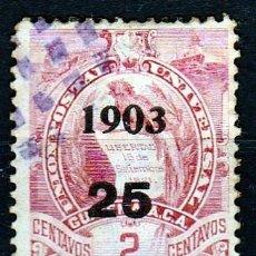 Sellos: GUATEMALA 1903. SELLO DE 1886 - 1900 SOBRECARGADO :1903 .25 CENTAVOS. *MH (17-49 ). Lote 73674995