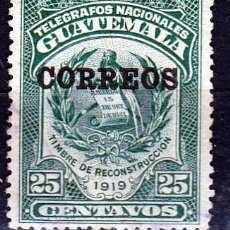 Sellos: GUATEMALA 1920 SELLO DE TELÉGRAFOS DE 1919 SOBRECARGADO.*MH (17-50 ). Lote 73675423