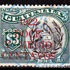 Sellos: GUATEMALA 1922. 3$.SOBRECARGADO: DOCE Y MEDIO CENTAVOS . MH(17-52 ). Lote 73676135