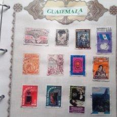 Sellos: GUATEMALA, 3 HOJAS CON 35 SELLOS USADOS DIFERENTES, CON CHARNELAS. Lote 91371265