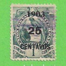 Sellos: GUATEMALA - MICHEL 122 - YVERT 130 - ESCUDO DE ARMAS - HABILITADO 25 CENTAVOS. (1903).. Lote 104730903