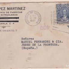 Sellos: CARTA DE GUATEMALA A JEREZ, CON SELLO 233 Y BISECTADO CON MARCA DE CENSURA . Lote 111011323