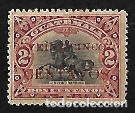 GUATEMALA 1916-19 SELLO DE 1902 CON SOBRECARGA EN ROJO MUY RARO (Sellos - Extranjero - América - Guatemala)